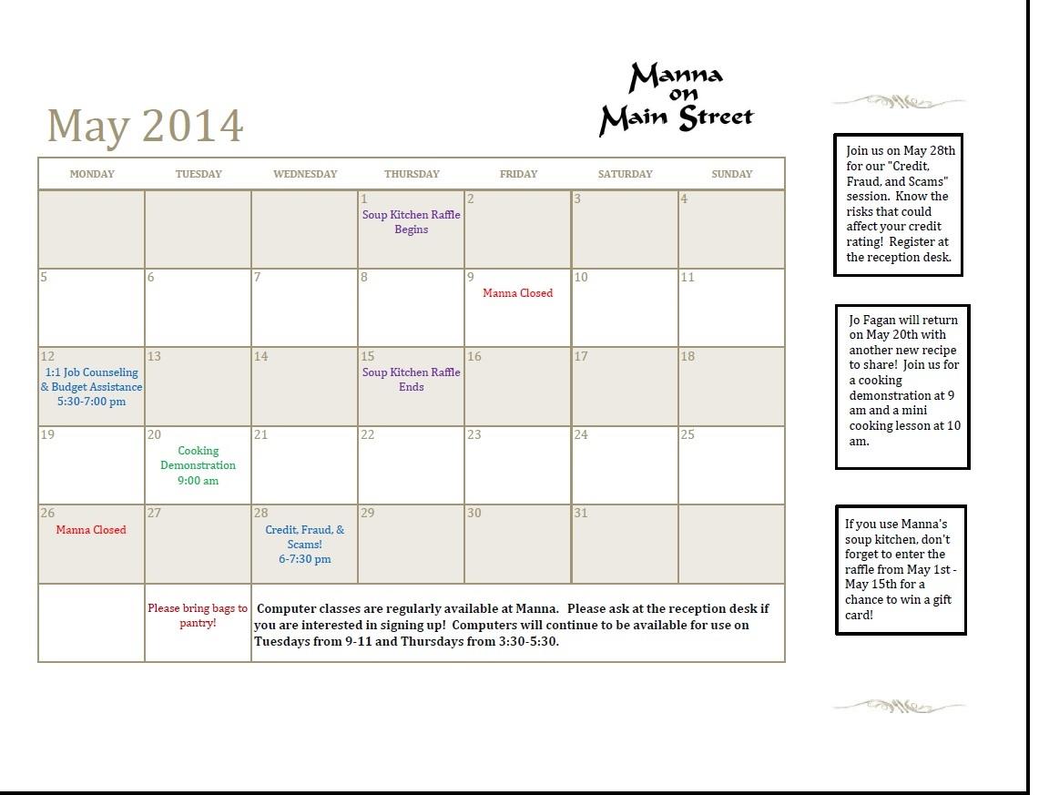 current monthly calendar manna on main street